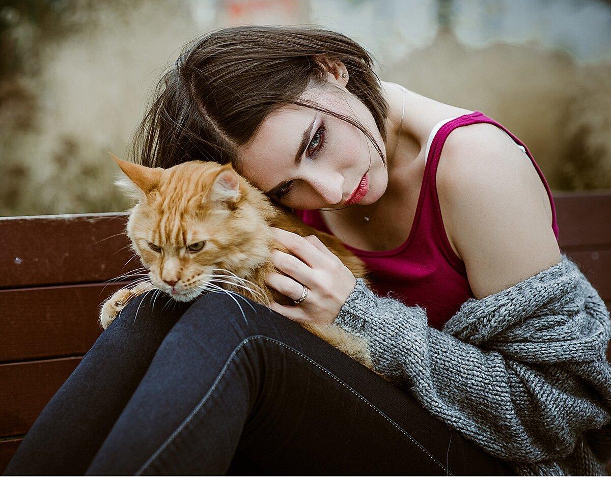 beautiful woman and cat